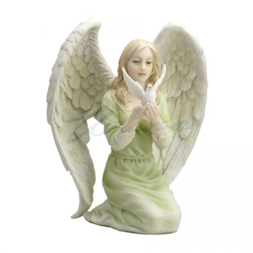 Kneeling Angel in green with dove in hands