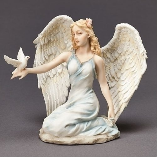 Kneeling Angel in blue with dove