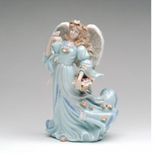 Angel holding a flower basket and bird