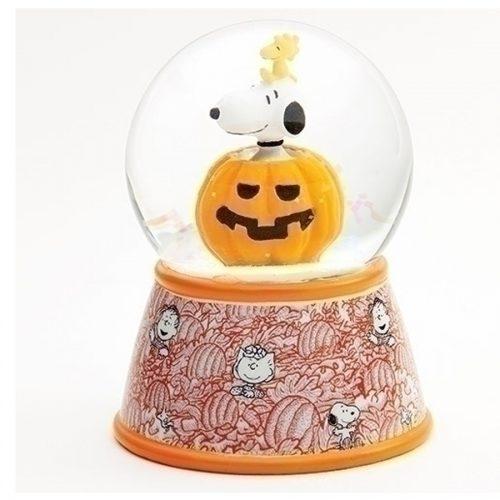 Snoopy and Woodstock in pumpkin water globe