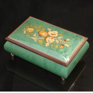 Italian Inlaid Jewelry Box Emeral Green 04CF-As
