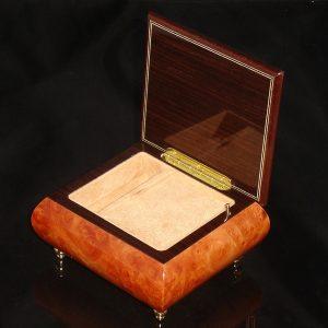 Italian Jewelry Box Burl Elm 17CF opened