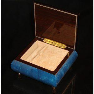 Italian Jewelry Box Dark Blue 17CF Opened beige interior