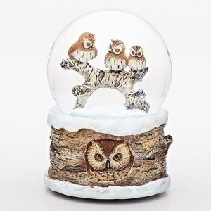 3 Owls musical water globe with owl base