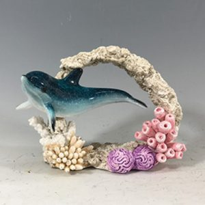 Blue Dolphin in coral figurine