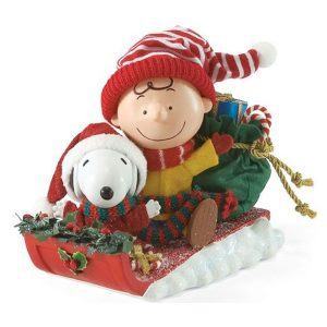 Charlie Brown and Snoopy Sledding figurine