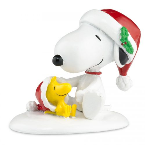 Snoopy and Woodstock in Santa hats