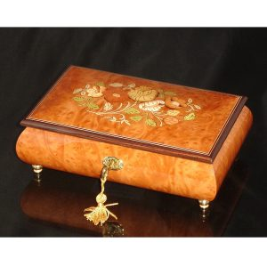 Italian Inlaid Musical Jewelry Box 02CF Elm
