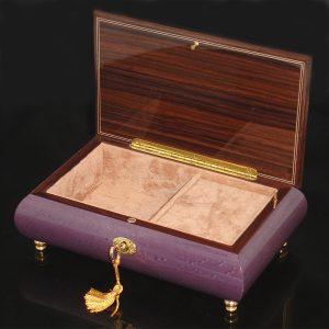 Italian Inlaid Musical Jewelry Box 02CF Plum opened