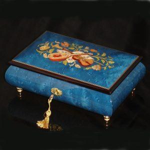 Italian Inlaid Musical Jewelry Box 02CVM Dark Blue