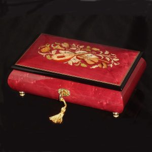 Italian Inlaid Musical Jewelry Box 02CVM Wine Red