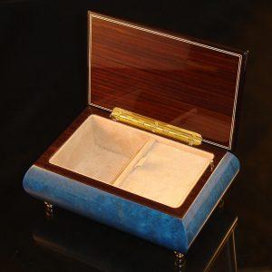 Italian Inlaid musical jewelry box dark blue 04CVM opened