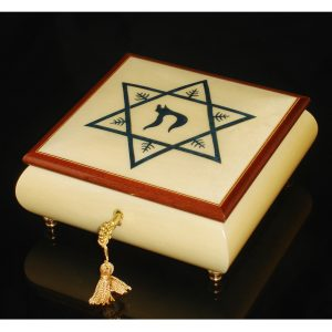 Italian Jewelry Box Star of David with Chai