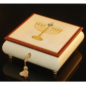 Italian Jewelry Box White with Menorah