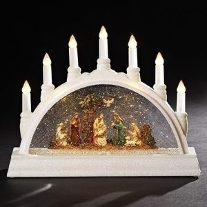 Large Candle Lantern with full lighted nativity inside