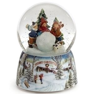 Children rolling a snowball inside the snow globe with a porcelain base