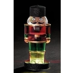 Nutcracker figurine with lights and swirling glitter