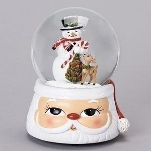 Musical Snowman and deer water globe. The base is a cute Santa head