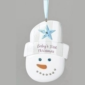Baby's First Christmas Ornament - Snowman in Blue
