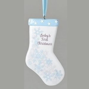 Baby's First Christmas Ornament- Blue Stocking