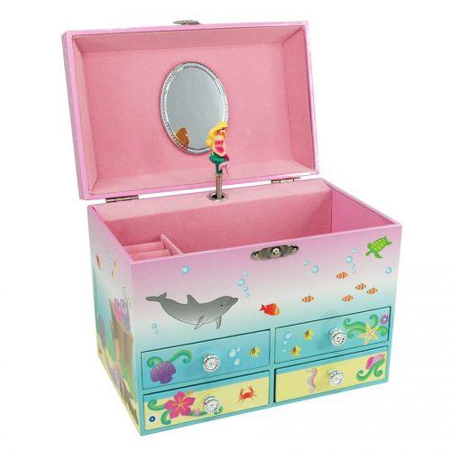 Mystic Mermaid Musical Jewelry Box Medium-opened