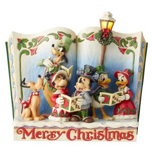 Mickey and Gang Christmas Story Book figurine by Jim Shore with light on