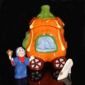 Cinderella-Pumpkin Cookie Jar with salt and pepper