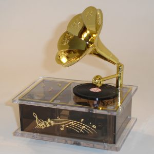 Miniature Gramophone Music Box Front View